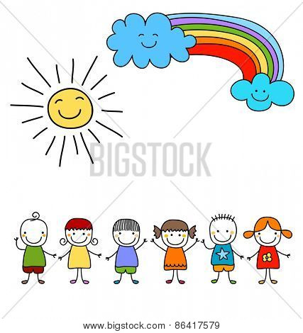 group of kids with sun and rainbow, child like drawing