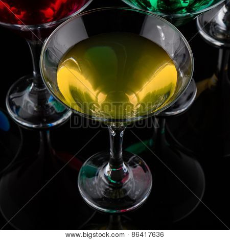 Close Up Color Cocktail In Martini Glass