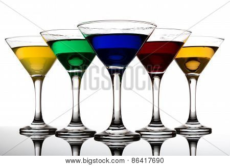 Color Cocktails In Martini Glasses