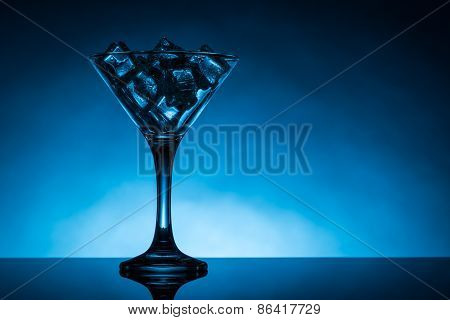 Martini Glass Filled With Ice Cubes