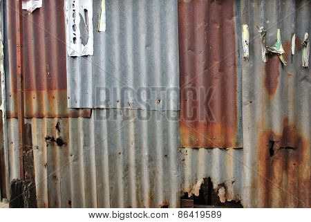 Rusted galvanized iron plate
