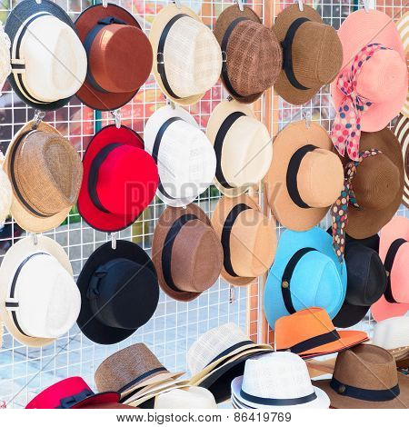 Many Of Hats For Lady Hang On Wall.