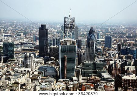 Aerial cityscape of the financial district of the City of London