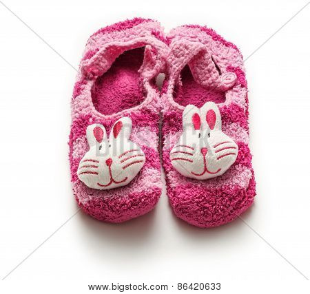 Knitted Purple Booties With Rabbit