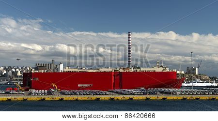 Ship Loading Automobiles And Tracks For Export