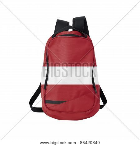 Latvia Flag Backpack Isolated On White