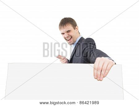 business man shows a finger  blank  signboard