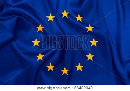 European Union flag with silk texture