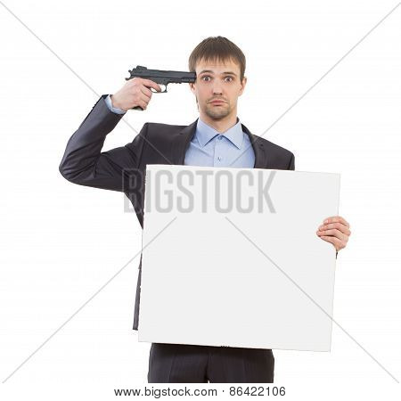 suicide sad businessman holding a white blank
