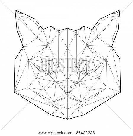 Cat. Low polygon linear vector illustration