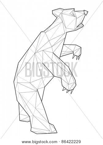 Bear. Low polygon linear vector illustration