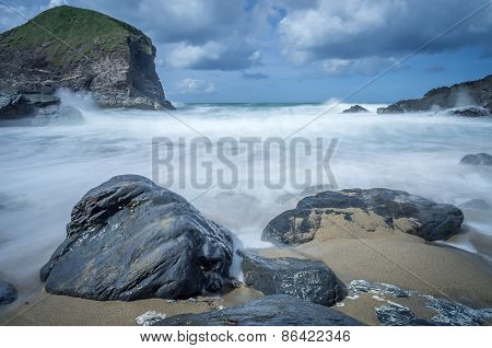 bedruthan steps in cornwall england uk