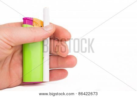 Hand Holding A Lighter And A Cigarette