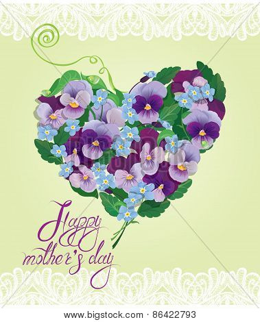 Heart Shape Is Made Of Beautiful Flowers - Pansy And Forget-me-not - Floral Background. Calligraphic