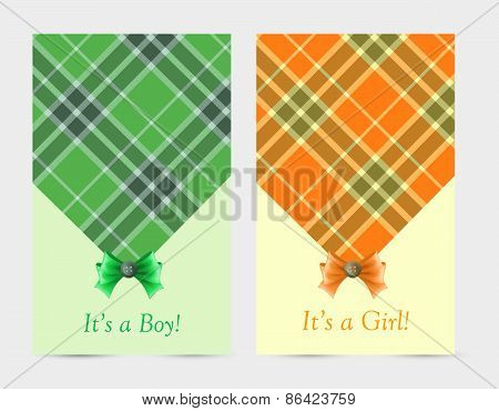 Invitation baby green and orange cards with bow, tartan, button.