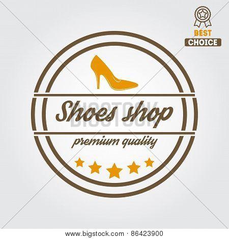 Vintage logo, badge, emblem or logotype elements for shoemaker, shoes shop and shoes repair