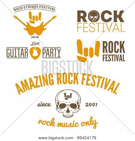 Set of vintage logo, badge, emblem or logotype elements for musical performance, rock festival or gu