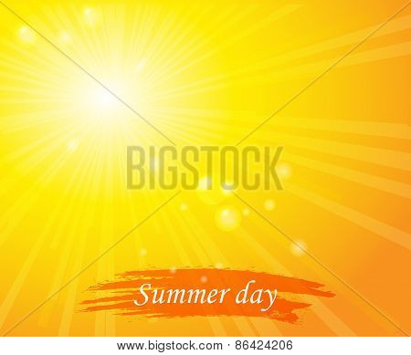 Bright sunny days sunset sky orange background for illustrations
