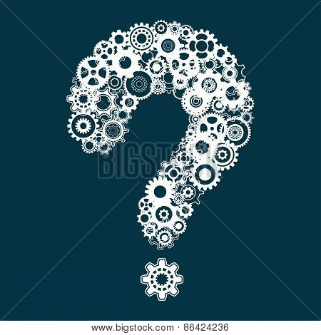Question Mark With Cog Wheels