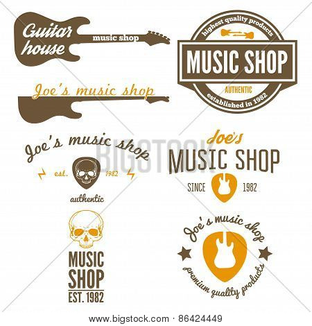 Set of vintage logo, badge, emblem or logotype elements for music shop, guitar shop