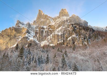 french alps snowy rocky mountain