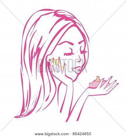 Beautiful Girl Applying Cream