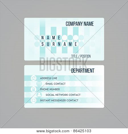 Business card template made in subtle teal circled geometrical design. Vector illustration