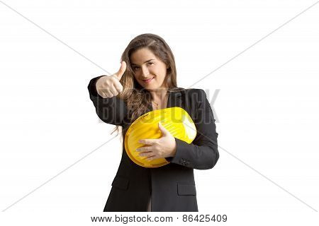 Smiling Female Engineer With Helmet Over White Background