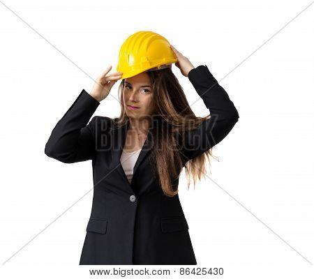 Engineer Makes Safety Gesture Wearing Safety Hemet