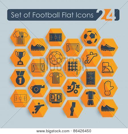Set of football flat icons