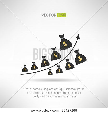Financial graph with money bags. Income raise concept. Earnings chart. Vector illustration