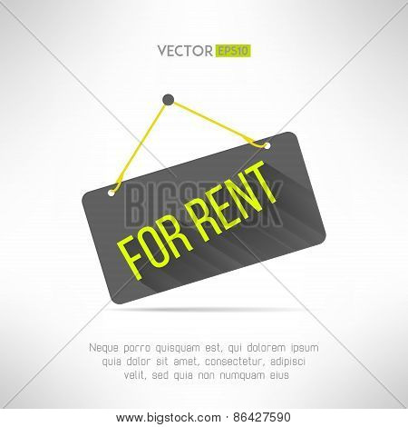 For rent sign made in modern flat design with long shadow. Property rental concept. Real estate offe