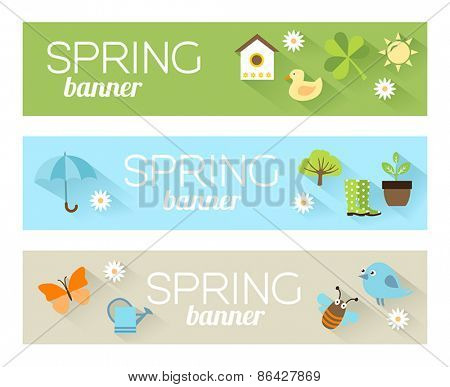 Banners with icons of animals and plants representing spring, nature and freshness. Illustration in modern flat design style.