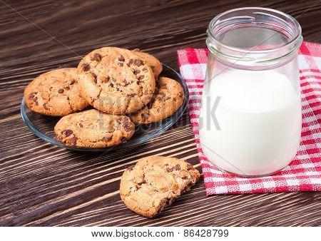 jar of milk and tasty cookies