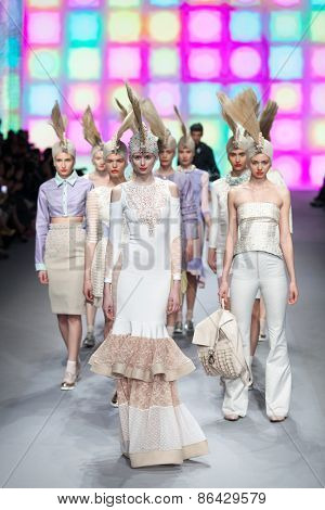 ZAGREB, CROATIA - MARCH 21, 2015: Fashion models wearing clothes designed by 'BiteMyStyle by Zoran Aragovi?' on the 'Fashion.hr' fashion show