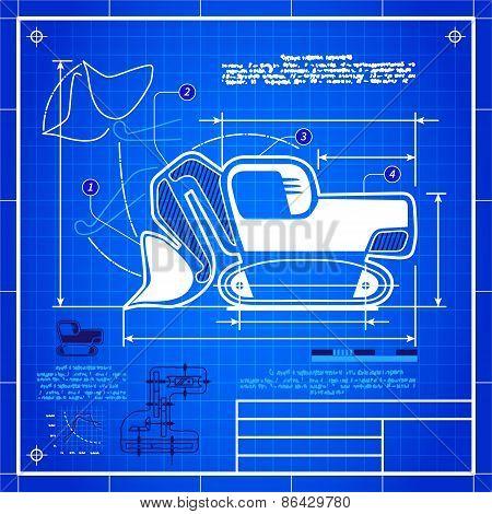 Excavator Front Shovel Bucket Icon Like Blueprint Drawing