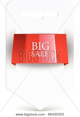 Sale label Blank paper with red ribbon. vector design