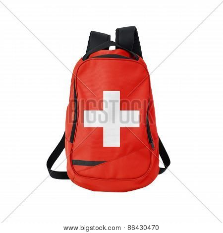 Switzerland Flag Backpack Isolated On White
