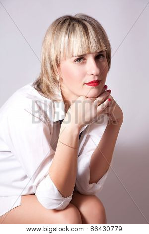 Beautiful Young Woman Dressing In Men's Clothing
