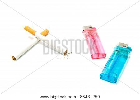 Plastic Lighters And Two Cigarettes