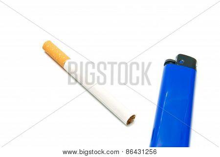 Blue Lighter And Cigarette