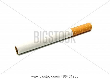 Single Cigarette With Filter On White