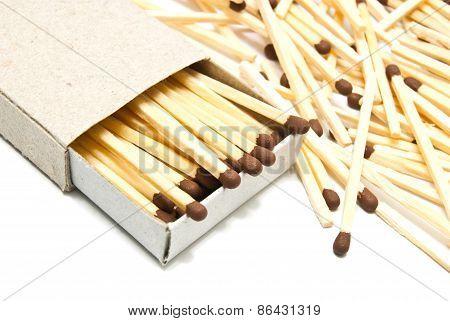Matchbox And Matches Closeup