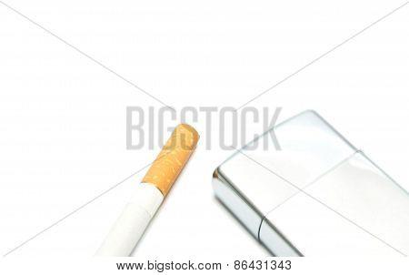 Cigarette And Silver Lighter
