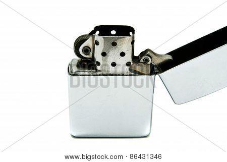 Single Metal Lighter On White