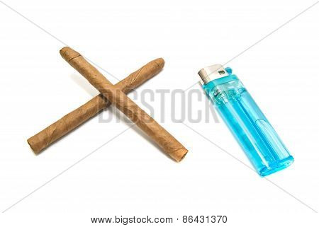 Two Cigars And Plastic Lighter