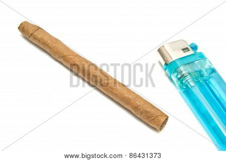 Cigar And Blue Plastic Lighter