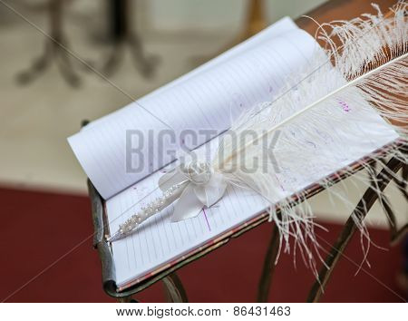 Ceremonial Book For Painting And Pen As A Feather