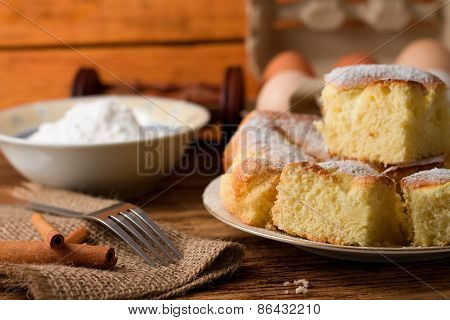 Plate Full Of Fluffy Curd Cake Portions
