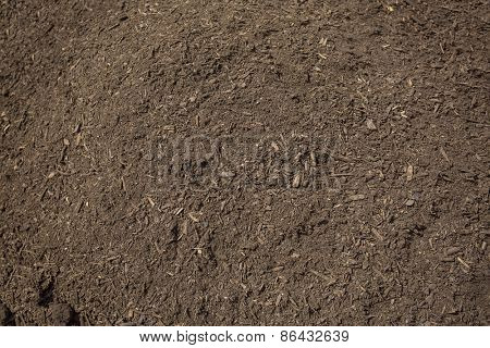 Close up view of rich, healthy compost dirt ready to be put into a garden and help grow healthy vegetables